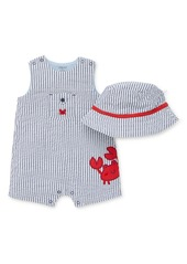 Little Me Crab Stripe Romper & Hat Set (Baby)
