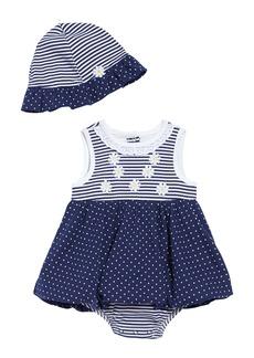 Little Me Daisy Popover Bodysuit & Sun Hat Set (Baby)
