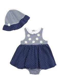 Little Me Daisy Popover Skirted Bodysuit & Hat Set (Baby)