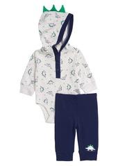 Little Me Dino Hooded Bodysuit & Pants Set (Baby)