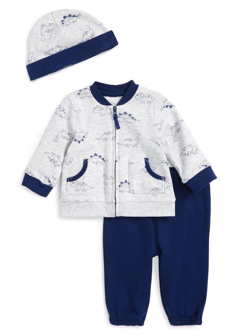 Little Me Dinos Zip Sweatshirt, Sweatpants & Hat Set (Baby Boys)