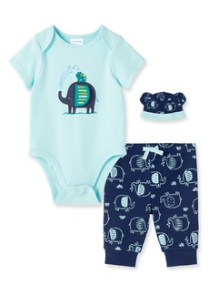 Little Me Elephant & Frog Bodysuit, Joggers & Hat Set (Baby)