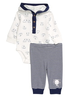 Little Me Elephant Hooded Bodysuit & Pants Set (Baby)