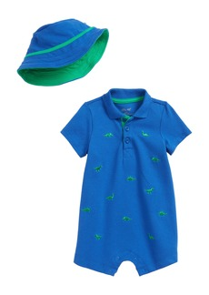 Little Me Embroidered Dino Romper & Hat Set (Baby Boys)