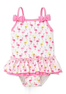 Little Me Flamingo-Print Swimsuit, Baby Girls