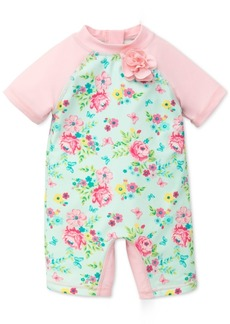 Little Me Floral-Print Rash Guard Swimsuit, Baby Girls