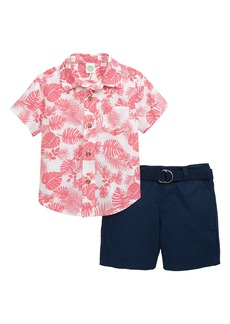 Little Me Foliage Button-Up Shirt & Shorts Set (Baby)