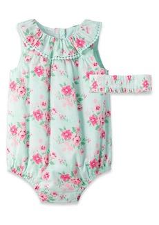 Little Me Garden Bubble Romper & Head Wrap Set (Baby)
