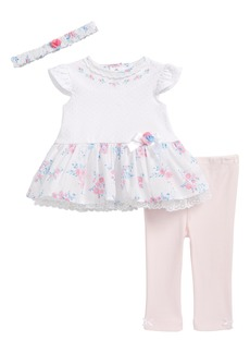 Little Me Garden Swing Dress, Leggings & Headband Set (Baby Girls)