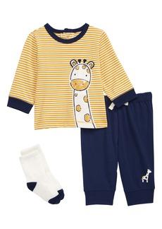Little Me Giraffe T-Shirt, Joggers & Socks Set (Baby)