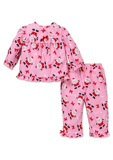 Little Me Girls' Holiday Santa 2 Piece Fleece Pajama Set