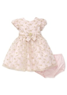 Little Me Girls' Special Occasion Dress and Panty Set (Pink and Gold)  24M