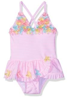 Little Me Girls' Swimsuit 3D Multi Pink