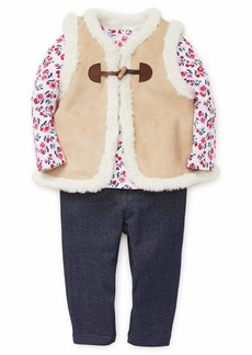 Little Me Girls' Toddler Vest Set tan Suede Bright White/Knit Denim