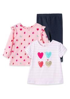 Little Me Heart Short Sleeve T-Shirt, Long Sleeve T-Shirt & Jeggings Set (Baby)