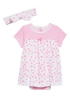 Little Me Hearts Dress & Headband Set (Baby)