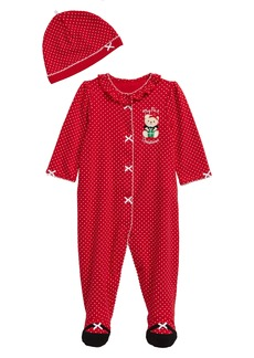 Little Me Holiday Bear Footie & Hat Set (Baby)