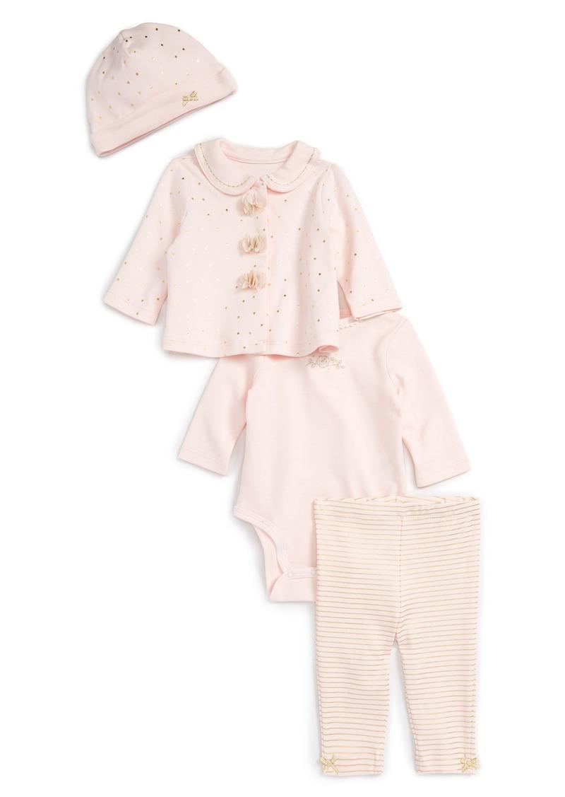 Little Me Jacket, Bodysuit, Leggings & Hat Set (Baby Girls)