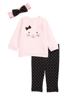 Little Me Kitty Sweatshirt, Leggings & Headband Set (Baby)