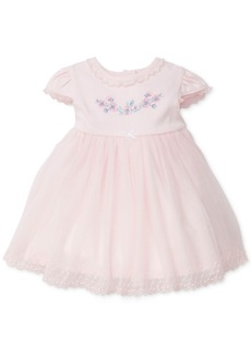 Little Me Lace-Trim Embroidered Cotton Dress, Baby Girls