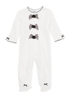 Little Me Leopard Bows Footie (Baby Girls)