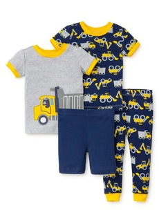 Little Me Little Boy's Four-Piece Graphic Cotton Pajama Set