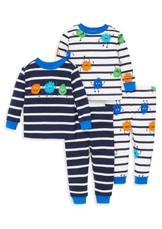 Little Me Little Boy's Four-Piece Monster Stripe Pajama Set