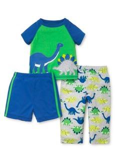 Little Me Little Boy's Three-Piece Dinosaur Pajama Top, Shorts and Pants Set