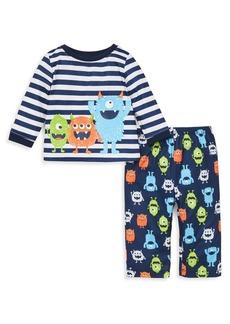 Little Me Little Boy's Two-Piece Monster Stripe Pajama Set