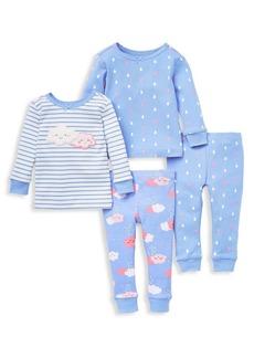 Little Me Little Girl's 4-Piece Clouds Cotton Pajamas Set