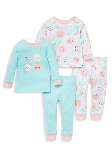 Little Me Little Girl's 4-Piece Day & Night Cotton Pajamas Set