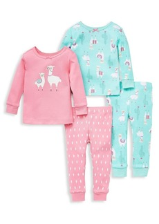 Little Me Little Girl's 4-Piece Llamas Cotton Pajamas Set
