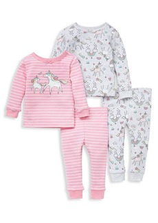 Little Me Little Girl's 4-Piece Unicorns Cotton Pajamas Set