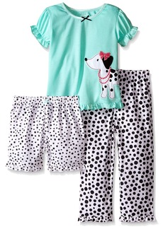 Little Me Little Girls' Toddler Dog 3-Piece Poly Pajamas White Print
