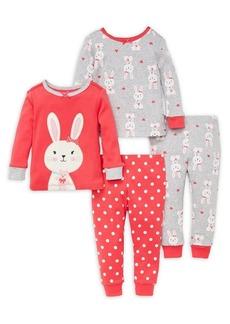 Little Me Little Girl's Four-Piece Bunny Pajama Set