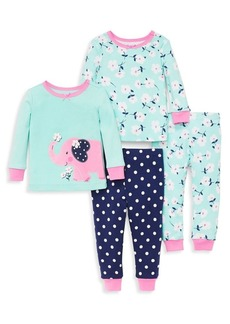 Little Me Little Girl's Four-Piece Floral Elephant Pajama Set