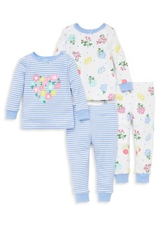 Little Me Little Girl's Four-Piece Floral Pajama Set