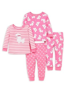 Little Me Little Girl's Four-Piece Poodle Pajama Set