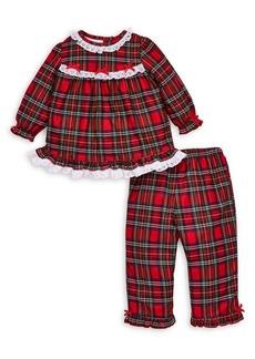 Little Me Little Girl's Plaid 2-Piece Pajama Top & Pants Set
