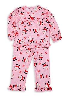 Little Me Little Girl's Two-Piece Santa PJ Set
