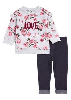 Little Me Love Floral Sweatshirt & Leggings Set (Baby)