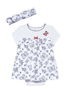 Little Me Mixed Print Skirted Bodysuit & Headband Set (Baby)