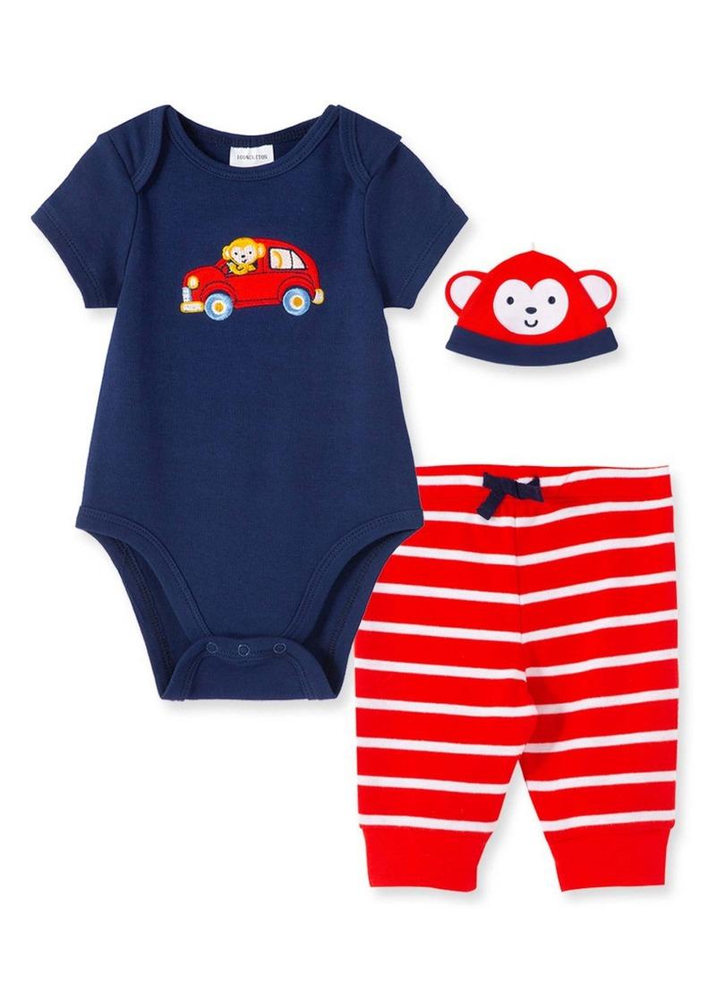 Little Me Monkey Bodysuit, Joggers & Hat Set (Baby)