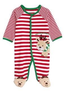 Little Me My First Christmas Reindeer Stripe Footie (Baby)
