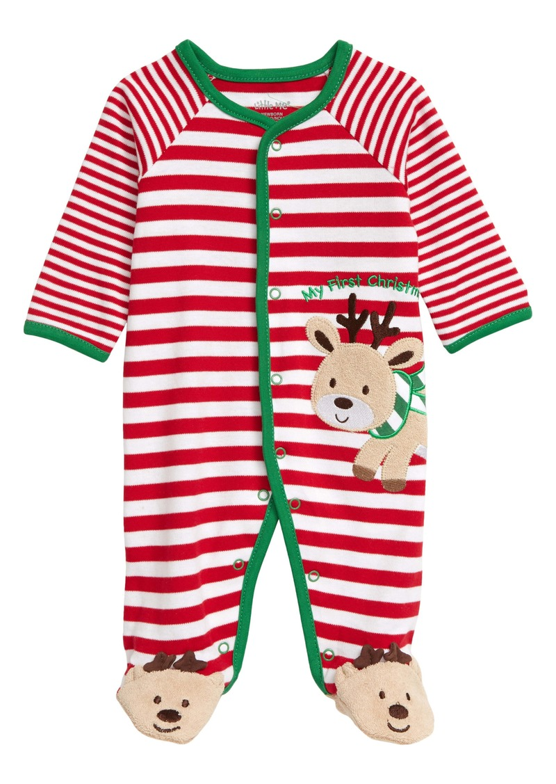 Little Me My First Christmas Reindeer Stripe Footie (Baby)