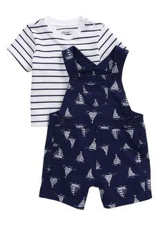 Little Me Nautical Stripe T-Shirt & Print Short Overalls Set (Baby)