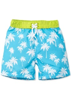 Little Me Palm-Print Swim Trunks, Baby Boys
