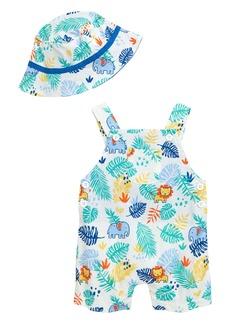 Little Me Palms Romper & Bucket Hat Set (Baby)