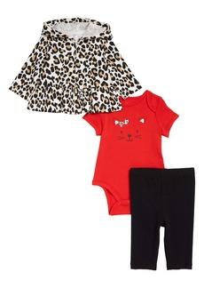 Little Me Peplum Hoodie, Bodysuit & Leggings Set (Baby)