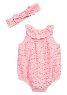 Little Me Pink Eyelet Bubble Romper & Head Wrap Set (Baby)